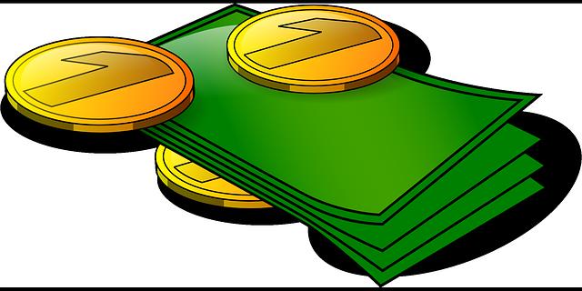 ilustrace hromádky bankovek a mincí